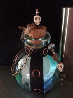 Crystals and Cogs Glowing Pirate Potion Bottle